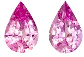 Fine Natural 6.5 x 4.2 mm Sapphire Loose Genuine Gemstone Pair in Pear Cut, Medium Pink, 0.97 carats