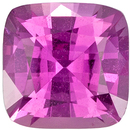GIA Certified 5.4 x 5.4 mm Pink Sapphire Genuine Gemstone in Cushion Cut, Vivid Pink, 0.89 carats