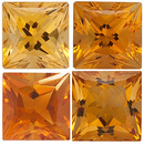 GOLDEN CITRINE  Princess Cut Gems - Calibrated