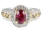 Quality 1.64 carat Low Price on Fuschia Sapphire & Diamond Ring in 2 tone 18 KT gold
