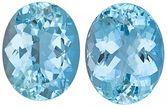 Deal on Aquamarine Pair of Genuine Loose Gemstones in Oval Cut, 15.82 carats, Medium Dark Blue, 15 x 12 mm