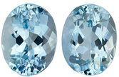 Loose Aquamarine Matching Gemstone Pair in Oval Cut, 3.89 carats, Medium Dark Blue, 9 x 7 mm