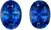 Loose Blue Sapphire Matching Gemstone Pair in Oval Cut, 1.83 carats, Vivid Rich Blue, 6.9 x 5 mm