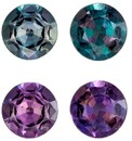 Great Deal  Color Change Alexandrite Genuine Gemstone, 0.41 carats, Round Shape, 3.6 mm Matching Pair