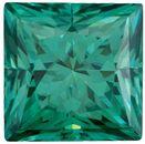Green Color Moissanite Princess Cut