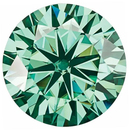 Green Color Moissanite Round Cut