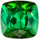 Hard to Find Green Tourmaline Genuine Gemstone, Cushion Cut, Medium Grass Green, 9.1 mm, 3.69 carats
