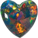 Gilson Created Black Mosaic Opal Heart Cut in Grade GEM