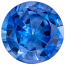 Fiery Blue Sapphire Genuine Loose Gemstone in Round Cut, 1.1 carats, Vivid Medium Blue, 6.4 mm