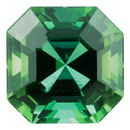 Loose Green Tourmaline Gemstone in Asscher Cut, 1.46 carats, 6.50 mm Displays Rich Green Color