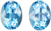 Lovely Aquamarine Matching Gemstone Pair in Oval Cut, 2.32 carats, Medium Sky Blue, 7.9 x 6 mm