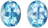 Lovely Aquamarine Matching Gemstone Pair in Oval Cut, 2.32 carats, Medium Sky Blue, 7.9 x 6 mm