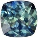 Lovely Blue Green Sapphire Genuine Gem, Teal Blue Green, Cushion Cut, 5 mm, 0.73 carats