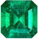 Lovely Genuine Emerald Gem in Emerald Cut, 6.2 x 6 mm in Gorgeous Medium Rich Green, 0.92 carats
