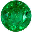 Lovely Genuine Emerald Gem in Round Cut, 6.1 mm in Gorgeous Vivid Rich Green, 0.93 carats