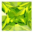 Low Price  Green Peridot Genuine Gemstone, 2.65 carats, Princess Shape, 8 mm