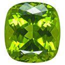 Xtra Fine Peridot Gemstone in Antique Cushion Cut, 26.92 carats, 19.06 x 17.48 mm Displays Rich Green Color