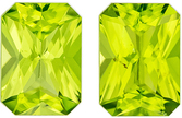 Must See  Matched Peridot Pair in Radiant Cut, 7.1 x 5 mm in Gorgeous Medium Lime Green, 2.06 carats