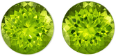 Must See  Matched Peridot Pair in Round Cut, 7 mm in Gorgeous Vivid Lime Green, 3.16 carats