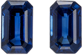 Must See Well Matched Blue Sapphire Pair in Emerald Cut, 5 x 3 mm, Rich Blue Color, 0.81 carats