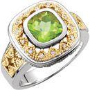 Peridot & Diamond Granulated Design Ring