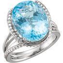 Platinum Swiss Blue Topaz & 0.50 Carat Diamond Spiral Ring