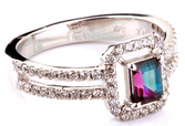 Pretty and Dainty Split Shank Diamond 14 KT White Gold Ring With a Low Price on Genuine 5.25 x 4.35 mm Emerald Shape .63ct Alexandrite Gemstone