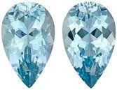 Pretty Aquamarine Matching Gemstone Pair in Pear Cut, 9.43 carats, Medium Pure Blue, 15 x 9.3 mm