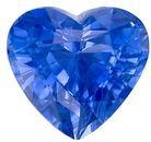 Rare Blue Sapphire Gemstone, 1.67 Carats, Heart Shape, 7.3 x 6.8mm, Stunning Rich Blue Color