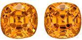 Real Orange Spessartite Gemstones, Cushion Cut, 3.88 carats, 6.6 mm Matching Pair, AfricaGems Certified - Truly Stunning