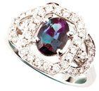 Regal Brazilian Impressive 1.20ct, 8.50 x 6.60 mm Alexandrite and Diamond Fancy Ring in 14k White Gold for SALE