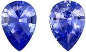 Serious Gem in 7 x 5 mm Sapphire Loose Genuine Gemstone Pair in Pear Cut, Vivid Blue, 1.3 carats