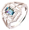 Sophisticated and Shop Real 6.65 x 4.45 mm Emerald Cut Real 1ct Alexandrite 14 KT White Gold Ring With  .66ct Diamond Detailing