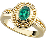 Special Vintage Looking Yellow Gold Ring set with .30 ct GEM Grade 5.00 x 3.50 mm Oval Alexandrite for SALE