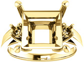 Square 3Stone Ring Mounting for Gemstone Size 4mm to 10mm, Round Side Gems