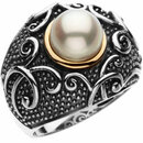 Sterling Silver & 14 KT Yellow Gold Freshwater Cultured Pearl Ring Size 7