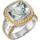 Sterling Silver & 14 Karat Yellow Gold Green Quartz & 0.10 Carat Diamond Ring