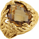 Perfect Gift Idea in 14 Karat Yellow Gold Gold-Plated Sterling Silver Checkerboard Honey Quartz Leaf Ring