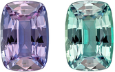 Strong Color Change Gubelin Certified Genuine Loose Alexandrite Gem in Cushion Cut, 9.15 x 6.3 x 4.22 mm, Open Teal to Eggplant, 2.19 carats