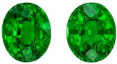 Stunning Green Tsavorite Gemstone Matched Pair, 4.13 Carats, Oval Shape, 8.3 x 6.8mm, Excellent Grass Green Color
