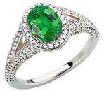 Low Price on Large GEM Deep Green .8ct Tsavorite Garnet 7x5mm Oval Cut in Heavy Diamond Pave Gold Ring