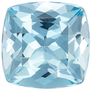 Super Aquamarine Genuine Loose Gemstone in Cushion Cut, 0.98 carats, Medium Pure Blue, 6.1 mm