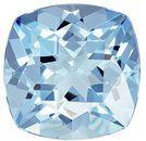 Super Aquamarine Genuine Loose Gemstone in Cushion Cut, 2.72 carats, Vivid Rich Blue, 9 mm