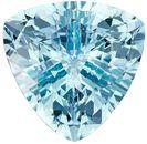 Super Bright Aquamarine Genuine Loose Gemstone in Trillion Cut, 1.5 carats, Green Tinged Blue, 8 mm