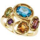 14 Karat Yellow Gold Multi-Gemstone Ring