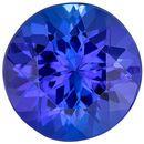 Top Quality in  Tanzanite Gem in Round Cut, 7.4 mm in Gorgeous Medium Blue Purple, 1.72 carats
