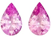 Unique Gem 0.8 carats Sapphire Loose Gemstone Pair in Pear Cut, Vivid Pink, 6 x 4 mm