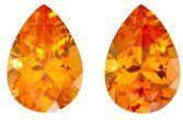 Unset Orange Spessartite Gemstones, Pear Cut, 3.63 carats, 8.9 x 6.2 mm Matching Pair, AfricaGems Certified - A Great Buy