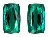 Super Great Buy  Blue Green Tourmaline Genuine Gemstone, 8.22 carats, Cushion Shape, 12.1 x 7.1 mm Matching Pair