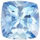 Low Price Aquamarine Genuine Loose Gemstone in Cushion Cut, 0.74 carats, Medium Pure Blue, 5.7 mm